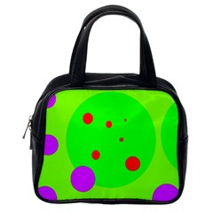 Green and purple dots Classic Handbags (One Side)