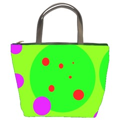 Green and purple dots Bucket Bags