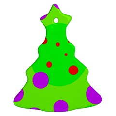 Green and purple dots Christmas Tree Ornament (2 Sides)
