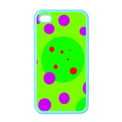 Green and purple dots Apple iPhone 4 Case (Color)