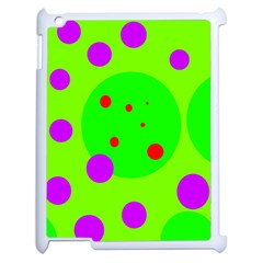 Green and purple dots Apple iPad 2 Case (White)