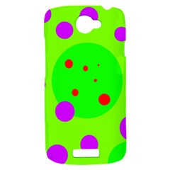 Green and purple dots HTC One S Hardshell Case