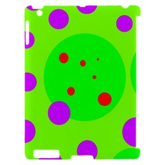 Green and purple dots Apple iPad 2 Hardshell Case (Compatible with Smart Cover)