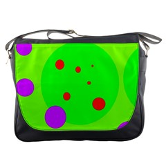 Green and purple dots Messenger Bags