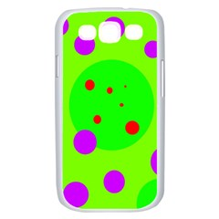 Green and purple dots Samsung Galaxy S III Case (White)