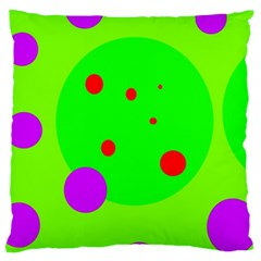 Green and purple dots Large Cushion Case (One Side)