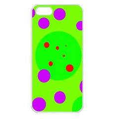 Green and purple dots Apple iPhone 5 Seamless Case (White)