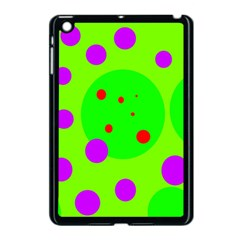 Green and purple dots Apple iPad Mini Case (Black)