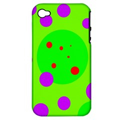 Green and purple dots Apple iPhone 4/4S Hardshell Case (PC+Silicone)
