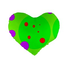 Green and purple dots Standard 16  Premium Heart Shape Cushions