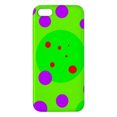 Green and purple dots Apple iPhone 5 Premium Hardshell Case