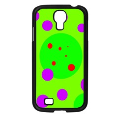 Green and purple dots Samsung Galaxy S4 I9500/ I9505 Case (Black)