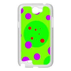 Green and purple dots Samsung Galaxy Note 2 Case (White)