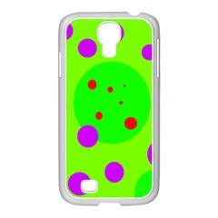 Green and purple dots Samsung GALAXY S4 I9500/ I9505 Case (White)