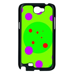 Green and purple dots Samsung Galaxy Note 2 Case (Black)