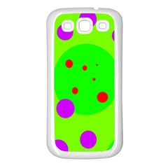Green and purple dots Samsung Galaxy S3 Back Case (White)