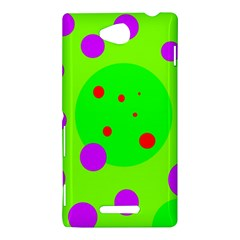 Green and purple dots Sony Xperia C (S39H)