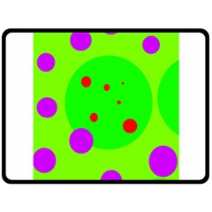 Green and purple dots Double Sided Fleece Blanket (Large)