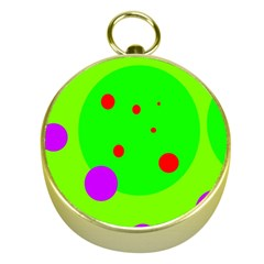 Green and purple dots Gold Compasses