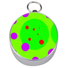 Green and purple dots Silver Compasses