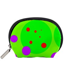 Green and purple dots Accessory Pouches (Small)