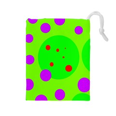 Green and purple dots Drawstring Pouches (Large)