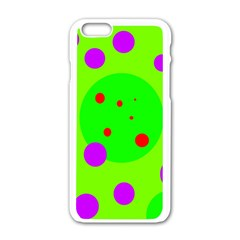 Green and purple dots Apple iPhone 6/6S White Enamel Case