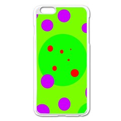 Green and purple dots Apple iPhone 6 Plus/6S Plus Enamel White Case