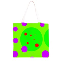 Green and purple dots Grocery Light Tote Bag