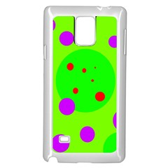 Green and purple dots Samsung Galaxy Note 4 Case (White)