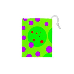 Green and purple dots Drawstring Pouches (XS)