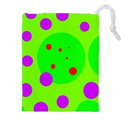 Green and purple dots Drawstring Pouches (XXL)