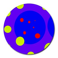 Purple and yellow dots Round Mousepads