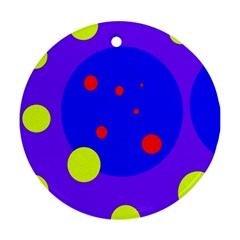 Purple and yellow dots Ornament (Round)