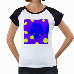 Purple and yellow dots Women s Cap Sleeve T