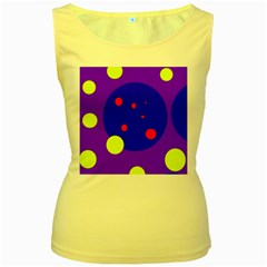 Purple and yellow dots Women s Yellow Tank Top