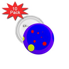 Purple and yellow dots 1.75  Buttons (10 pack)