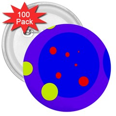 Purple and yellow dots 3  Buttons (100 pack)