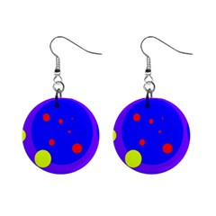 Purple and yellow dots Mini Button Earrings