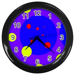 Purple and yellow dots Wall Clocks (Black)