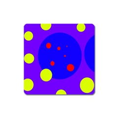 Purple and yellow dots Square Magnet