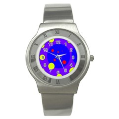 Purple and yellow dots Stainless Steel Watch