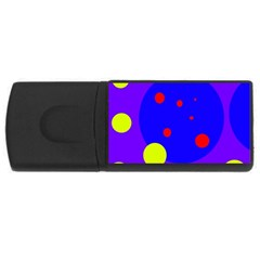 Purple and yellow dots USB Flash Drive Rectangular (4 GB)