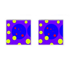 Purple and yellow dots Cufflinks (Square)