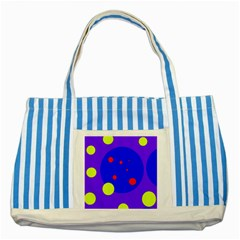 Purple and yellow dots Striped Blue Tote Bag