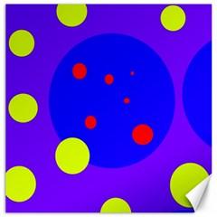 Purple and yellow dots Canvas 12  x 12
