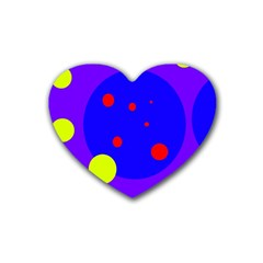 Purple and yellow dots Rubber Coaster (Heart)