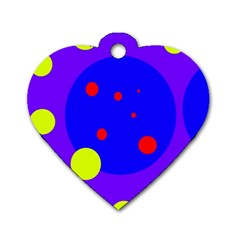 Purple and yellow dots Dog Tag Heart (Two Sides)