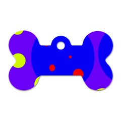Purple and yellow dots Dog Tag Bone (One Side)