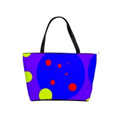 Purple and yellow dots Shoulder Handbags